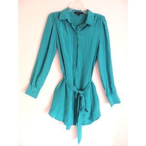 BCBG turquoise 100% silk shirt dress size M